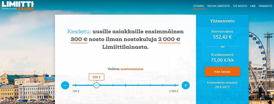 Limiitti.fi on varma vippi ja se on aina ilmainen 300 euroon asti.